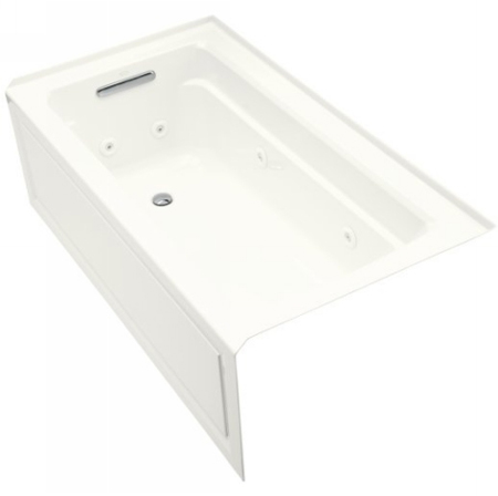 Kohler K-1122-LA-0 Archer 5' Whirlpool With Integral Apron and Left Hand Drain - White