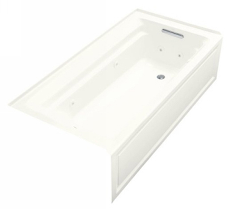 Kohler K-1124-HR-0  Archer 6' Whirlpool With Integral Apron and In-Line Heater - White