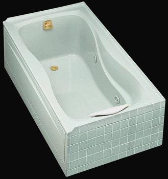 Kohler K-1209-RH-0 Hourglass Whirlpool With Tile Flange In-Line Heater And Right Hand Drain - White