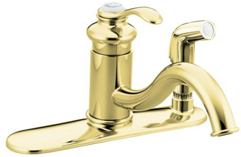 Kohler K-12173-PB Fairfax Single Handle Kitchen Faucet with Sidespray - Polished Brass