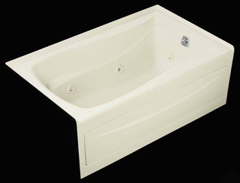 Kohler K-1239-RA-0 Mariposa 5' Whirlpool With Integral Apron and Right Hand Drain - White