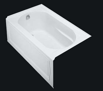 Kohler K-1357-GLA-0 Devonshire BubbleMassage Bath With Integral Apron and Left Hand Drain - White