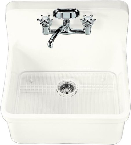 Kohler K-12701-0 Gilford 24 x 22 Apron-Front Wall-Mount/Self-Rimming Kitchen Sinks - White (Faucet and Accessories Not Included)