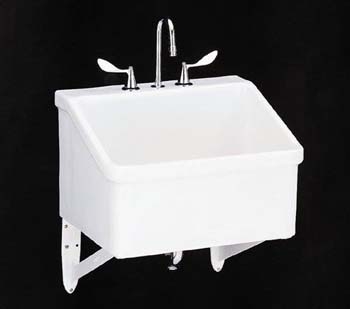 Kohler K-12794-0 Hollister Utility Sink with Three-Hole Faucet Drilling - White (Faucet Not Included)