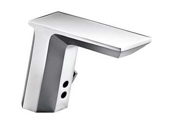 Kohler K-13466-CP Geometric Touchless? Deck-Mount Faucet with Temperature Mixer - Polished Chrome