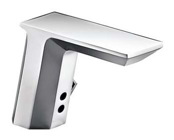 Kohler K-13466-VS Geometric Touchless? Deck-Mount Faucet with Temperature Mixer - Stainless Steel (Pictured in Polished Chrome)