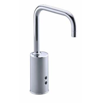 Kohler K-13472-VS Gooseneck Touchless? Deck-Mount Faucet with Temperature Mixer - Vibrant Stainless (Pictured in Polished Chrome)