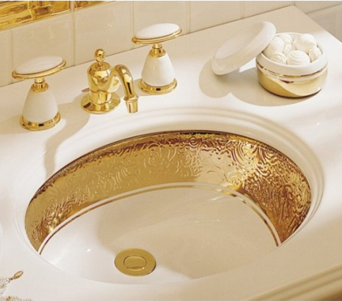 Kohler K-14174-PD-0 Laureate Undercounter Lavatory With Gold Accents - White