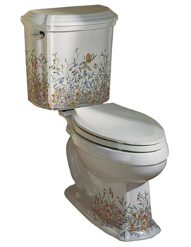 Kohler K-14247-FL-0 English Trellis Design on Portrait Toilet - White