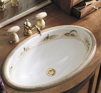 Kohler K-14272-P-96 Pheasant Design on Vintage Self-Rimming Lavatory - Biscuit (Faucet Not Included)