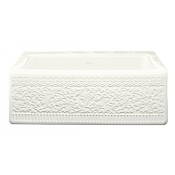 Kohler K-14571-FC-0 Single-Compartment Tile-In Sink With Interlace Design and Integral Apron - White