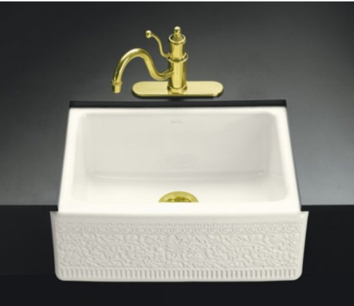 Kohler K-14572-FC-96 Undercounter Mount Single-Compartment Sink With Interlace Design With Integral Apron - Biscuit (Faucet Not Included)