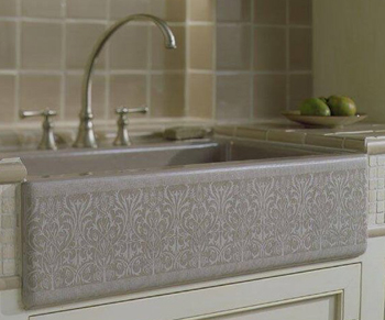 Kohler K-14580-KG-G9 Alencon Lace Tile-In Single Compartment Sink - Sandbar (Pictured in Cashmere)