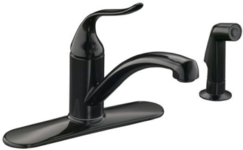 Kohler K-15072-P-7 Single Handle Kitchen Sink Faucet with Sidespray - Black