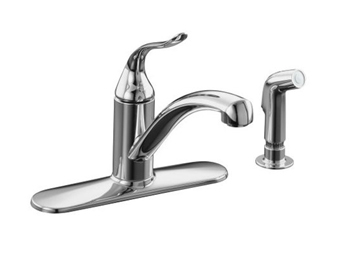 Kohler K-15072-P-CP Single Handle Kitchen Sink Faucet with Sidespray - Polished Chrome