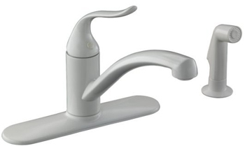 Kohler K-15072-P-0 Coralais Single Handle Kitchen Sink Faucet with Sidespray - White