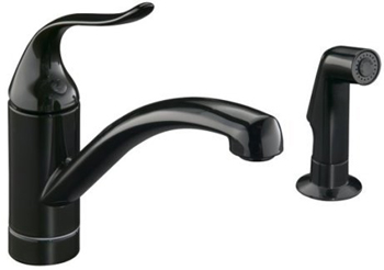 Kohler K-15076-P-7 Single Handle Kitchen Faucet with Sidespray - Black