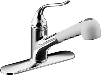 Kohler K-15160-AP-CP Coralais Single-Control Pull-Out Spray Kitchen Sink Faucet with Polished Chrome Body and White Sprayhead - Polished Chrome