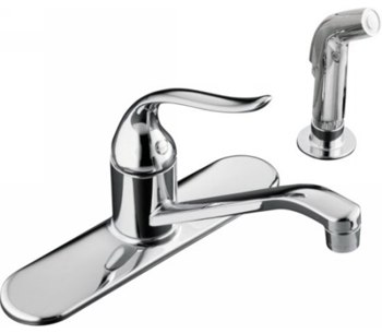 Kohler K-15172-P-CP Coralais Single-Handle Kitchen Sink Faucet with Sidespray - Chrome