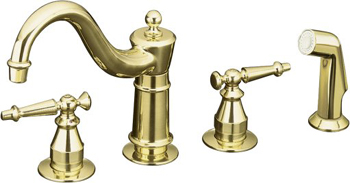 Kohler K-158-4-PB Antique Two Handle Kitchen Faucet with Sidespray - Polished Brass