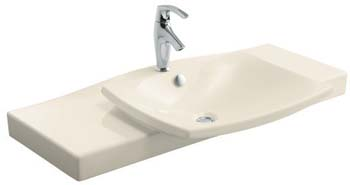 Kohler K-19034-1-47 Escale One-Piece Surface and Integrated Lavatory - Almond