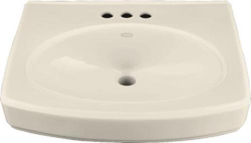 Kohler K-2028-1-47 Pinoir Lavatory Basin with Single-Hole Faucet Drilling - Almond (Pictured w/3 Holes)