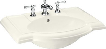 Kohler K-2295-1-96 Devonshire Lavatory Basin with Single-Hole Faucet Drilling - Biscuit (Faucet Not Included)