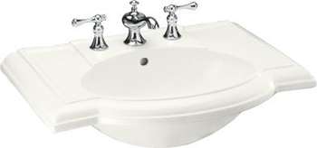 Kohler K-2295-1-0 Devonshire Lavatory Basin with Single-Hole Faucet Drilling - White (Faucet Not Included)