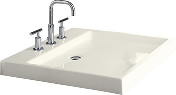 Kohler K-2314-1-96 Purist Wading Pool Fireclay Lavatory With Single Hole Drilling - Biscuit