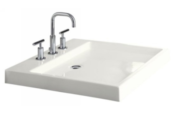 Kohler K-2314-8-0 Purist Wading Pool Fireclay Lavatory - White (Faucet Not Included)
