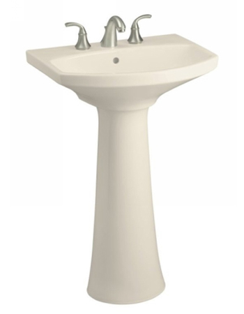 Kohler Bathroom Faucet on Kohler K 2362 8 47 Cimmaron Pedestal Lavatory With 8  Centers   Almond