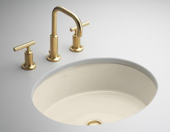 Kohler K-288-47 Single Basin Undercounter Lavatory from the Verticyl Collection - Almond