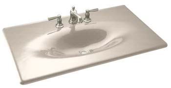 Kohler K-3051-1-FD Cast Iron Vanity Top - Cane Sugar