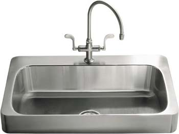 Kohler K-3084-3-NA Single Basin Stainless Steel Kitchen Sink from the Verity Series - Stainless Steel