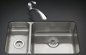 Kohler Stainless Steel Kitchen Sinks kohler k-3174-l-na undertone undercounter double compartment
