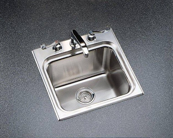 Kohler K-3260-3 Ballad Self-Rimming Utility Sink with Three-Hole Faucet Punching - Stainless Steel