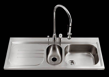 Kohler K-3326L-3-NA Pro Taskcenter Double Basin Kitchen Sink - Stainless Steel (Faucet and Accessories Not Included)