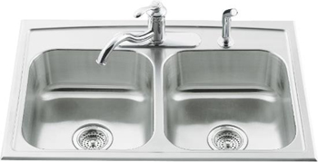 Kohler K-3346-3-NA Double Basin Stainless Steel Kitchen Sink from the Toccata Series - Stainless Steel