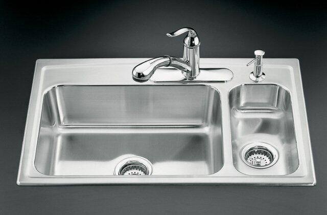 Kohler K-3347L-3-NA Toccata Self-Rimming Kitchen Sink High/Low Basins and Three Hole Faucet Punching - Stainless Steel