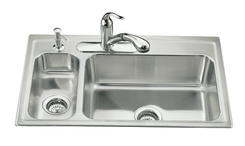 Kohler K-3347L-4 Toccata Self-Rimming Kitchen Sink- High/Low Basins and 4 Hole Fauet Punching - Stainless Steel