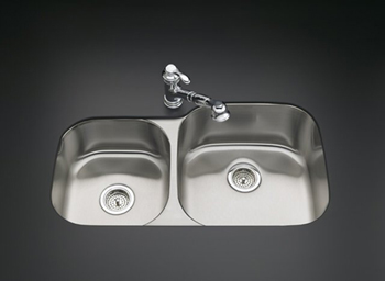 Kohler K-3356-L-NA Undertone Undercounter Double Compartment Kitchen Sink - Stainless Steel