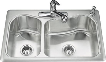 Kohler K-3361-4-NA Staccato Self-Rimming Kitchen Sink- 4 Hole Faucet Drilling - Stainless Steel (Faucet and Accessories Not Included)
