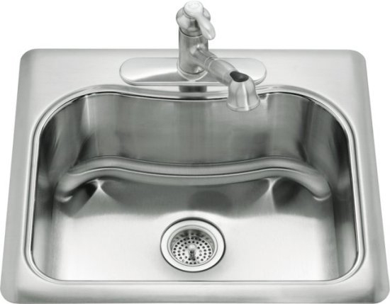 Kohler K-3362-1-NA Staccato Self-Rimming Single Compartment Kitchen Sink - Stainless Steel (Faucet Not Included)