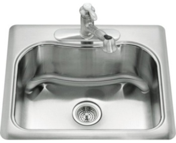 Kohler K-3362-3-NA Staccato Self-Rimming SIngle Compartment Kitchen Sink- 3 Hole Faucet Punching - Stainless Steel (Faucet Not Included)