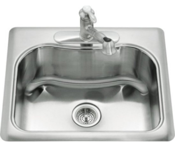 Kohler K-3362-4-NA Staccato Self-Rimming Single Compartment Kitchen Sink- 4 Hole Faucet Drilling - Stainless Steel