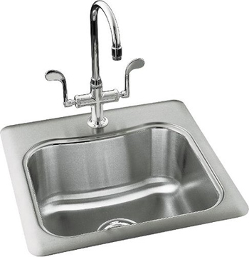 Kohler K-3363-3-NA Staccato Self-Rimming Entertainment Sink With 3-Hole Faucet Punching - Stainless Steel