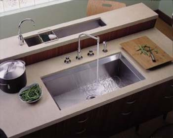 Kohler K-3387-H-NA Single Basin Stainless Steel Kitchen Sink from the Poise Series - Stainless Steel