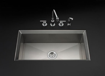 Kohler K-3387-NA Single Basin Stainless Steel Kitchen Sink from the Poise Series - Stainless Steel