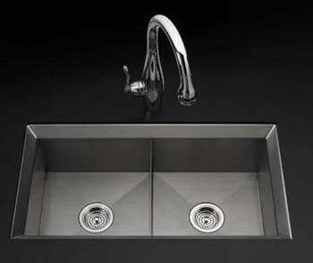 Kohler K-3388-NA Double Basin Kitchen Sink from the Poise Series - Stainless Steel