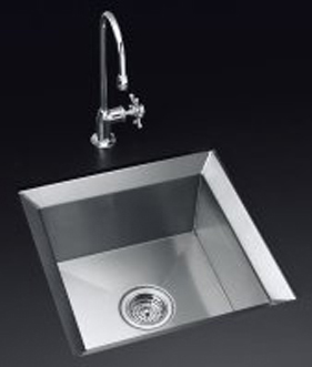 Kohler K-3391-H-NA Poise Undercounter Single Basin Kitchen Sink With Mirror Finished Rim - Stainless Steel